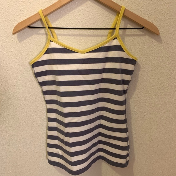 Gap Body Tops - Gap Body- tank top,gray/white/yellow with stripes!